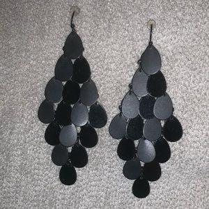 Black waterfall drop earrings